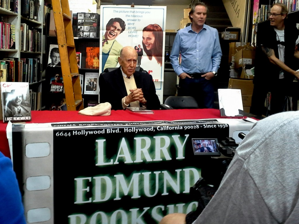 Carl Reiner at Q&A and book signing of his memoir I JUST REMEMBERED at Larry Edmunds Bookshop in Hollywood. March 29, 2015