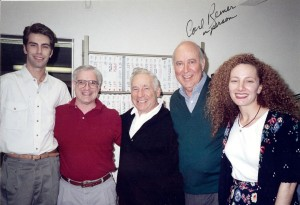 Mel Brooks visits Carl Reiner in the editing room of FATAL INSTINCT. Also pictured (left to right) assistant editor Matt Cassell, co-editor Stephen Myers and assistant editor Beverly Pinnas.